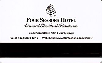 Hotel Keycard Four Seasons Cairo Egypt Back
