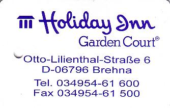 Hotel Keycard Holiday Inn Garden Court Brehna Germany Front