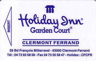Hotel Keycard Holiday Inn Garden Court Clermont Ferrand France Front