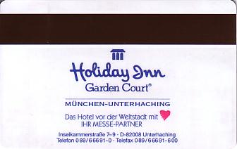 Hotel Keycard Holiday Inn Garden Court Munich Germany Back