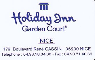 Hotel Keycard Holiday Inn Garden Court Nice France Front