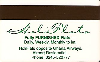 Hotel Keycard Holiday Inn Accra Ghana Back