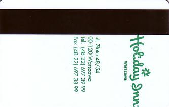 Hotel Keycard Holiday Inn Warsaw Poland Back