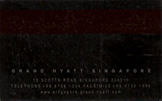 Hotel Keycard Hyatt  Singapore Back