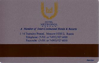 Hotel Keycard Inter-Continental Moscow Russian Federation Back