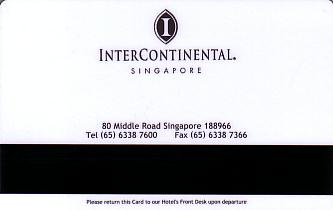 Hotel Keycard Inter-Continental  Singapore Back