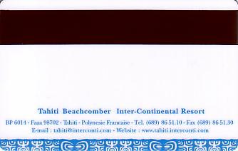 Hotel Keycard Inter-Continental Tahiti French Polynesia Back
