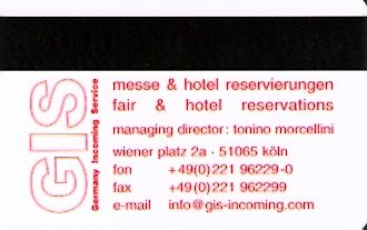 Hotel Keycard Park plaza Cologne Germany Back