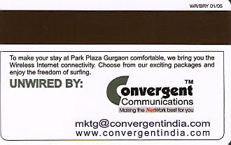 Hotel Keycard Park plaza Gurgaon India Back