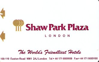 Hotel Keycard Park plaza London United Kingdom Front