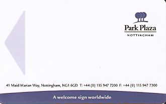 Hotel Keycard Park plaza Nottingham United Kingdom Front